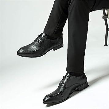 SHANGWU Zapatos de Cuero de los Hombres Zapatos de Vestir de Cuero de los  Hombres de Negocios Zapatos de Moda de Punta Zapatos de los Hombres de Gama  Alta ... dea4b87d1129a