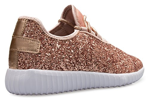 Glitter Sneakers K On Sparkly Easy Gold Lightweight Comfort OLIVIA Glitter Womens Fashion Casual Rose pqOZxwxHA