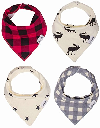 Baby Bandana Drool Bibs Gift Set For Boys And Girls, 4 Pack Organic Cotton With Snaps