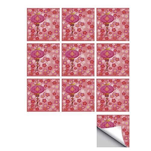 C COABALLA Lantern Stylish Ceramic Tile Stickers 10 Pieces,Chinese New Year Theme Cherry Blossom Auspicious Festive Celebration Print for Kitchen Living Room,7
