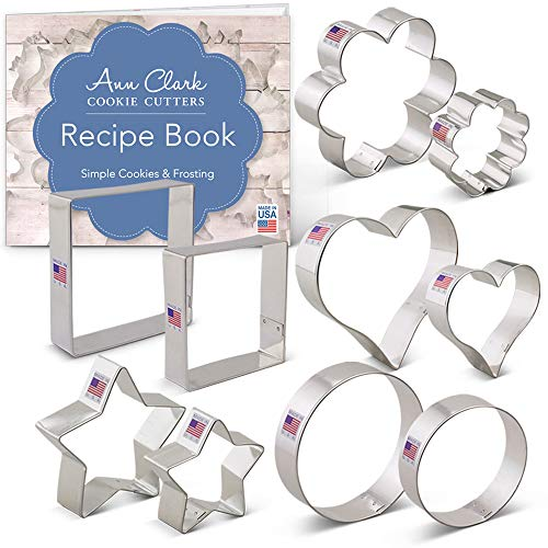 Ann Clark Cookie Cutters 10-Piece Basic Cookie Cutter Set with Recipe Booklet, Flowers, Stars, Hearts, Circles, Squares