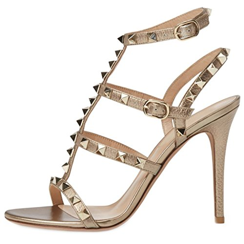 Womens Studded Gladiator Design (Comfity Heeled Sandals for Women,Strappy Gladiator Shoes Slingback Stiletto Heels Dress Party Wedding Sandals)
