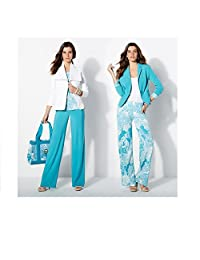 Iman 2 Pair Global Chic Luxury Resort Full Length Palazzo Pants Print & Solid