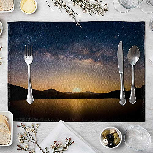 memorytime Night Starry Sky Linen Placemat Kitchen Dining Table Mat Bowl Pad Coaster Decor Kitchen Dining Supplies - 9# by memorytime (Image #8)