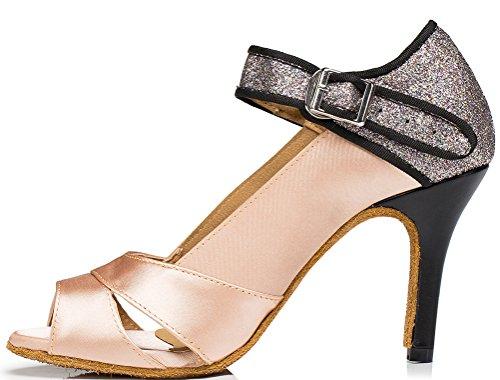 1016 Salsa Latin Shoes Peep Womens Toe Skin Party Practice Flat Prom Ballroom Tango PXqwqAR5
