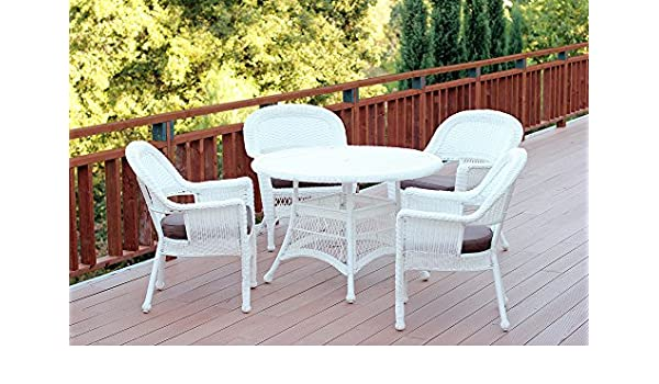 Fabulous Amazon Com 5 Piece White Resin Wicker Chair Table Patio Alphanode Cool Chair Designs And Ideas Alphanodeonline