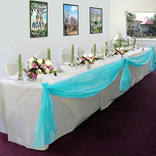Gorgeous Home LinenMany Colors Elegant Wedding Table Valance Chair Decor Sheer Swags Fabric Party Decorations (Turquoise Blue)