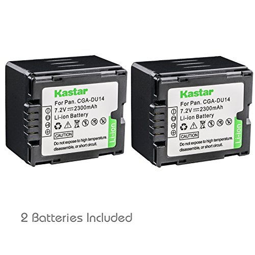 Kastar CGA-DU14 Battery (2-Pack) replace Panasonic CGA-DU06, CGA-DU07, CGA-DU14, CGA-DU21, VW-VBD070 VBD140 VBD210 work with Panasonic NV-GS330, GS400, GS408, GS500, GS508, MX500, PV-GS90, GS120, GS150, GS180, GS320, GS400, GS500, SDR-H48, H68, H200, H250, H280, VDR-D160, D258, D300, D308, D310, D400, M53, M54, M55, M70, M74, M75, M95, M250 and Hitachi DZ-BP21SJ, DZ-BP14S, DZ-BP7S, DZ-BP14SW (Du14 Cga Lithium Ion Battery)