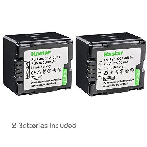 Kastar CGA-DU14 Battery (2-Pack) replace Panasonic CGA-DU06, CGA-DU07, CGA-DU14, CGA-DU21, VW-VBD070 VBD140 VBD210 work with Panasonic NV-GS330, GS400, GS408, GS500, GS508, MX500, PV-GS90, GS120, GS150, GS180, GS320, GS400, GS500, SDR-H48, H68, H200, H250, H280, VDR-D160, D258, D300, D308, D310, D400, M53, M54, M55, M70, M74, M75, M95, M250 and Hitachi DZ-BP21SJ, DZ-BP14S, DZ-BP7S, DZ-BP14SW ()