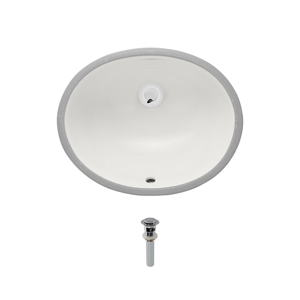 UPS-Bisque Undermount Porcelain Bathroom Sink Ensemble, Chrome Pop-Up Drain by MR Direct