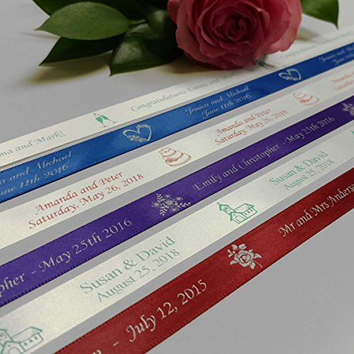 Personalized Wedding Ribbon - Customized with Your Text for Favors & Gifts (5 Yards) ()
