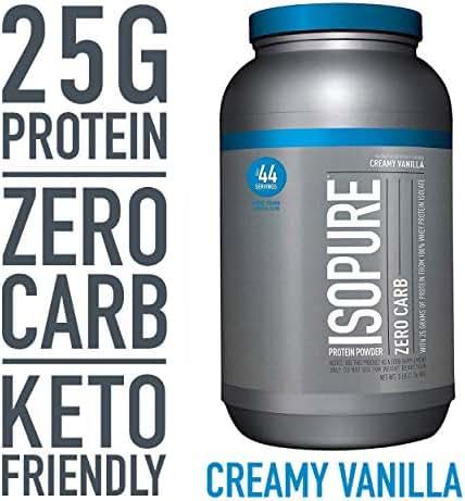 Isopure Zero Carb, Keto Friendly Protein Powder, 100% Whey Protein Isolate, Flavor: Creamy Vanilla, 3 Pounds