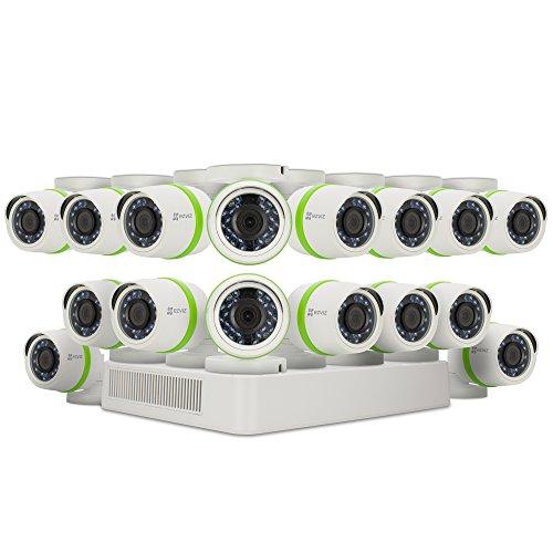 EZVIZ HD 720p Outdoor Surveillance System, 16 Weatherproof HD Security Cameras, 16 Channel 2TB DVR Storage, 100ft Night Vision, Customizable Motion Detection