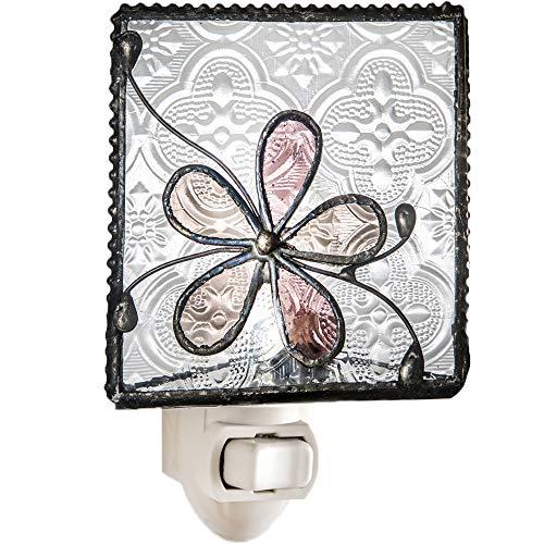 J Devlin NTL 129 Stained Glass Dusty Pink Rose Flower Night Light Decorative Bedroom Bathroom Nursery Accent Lite