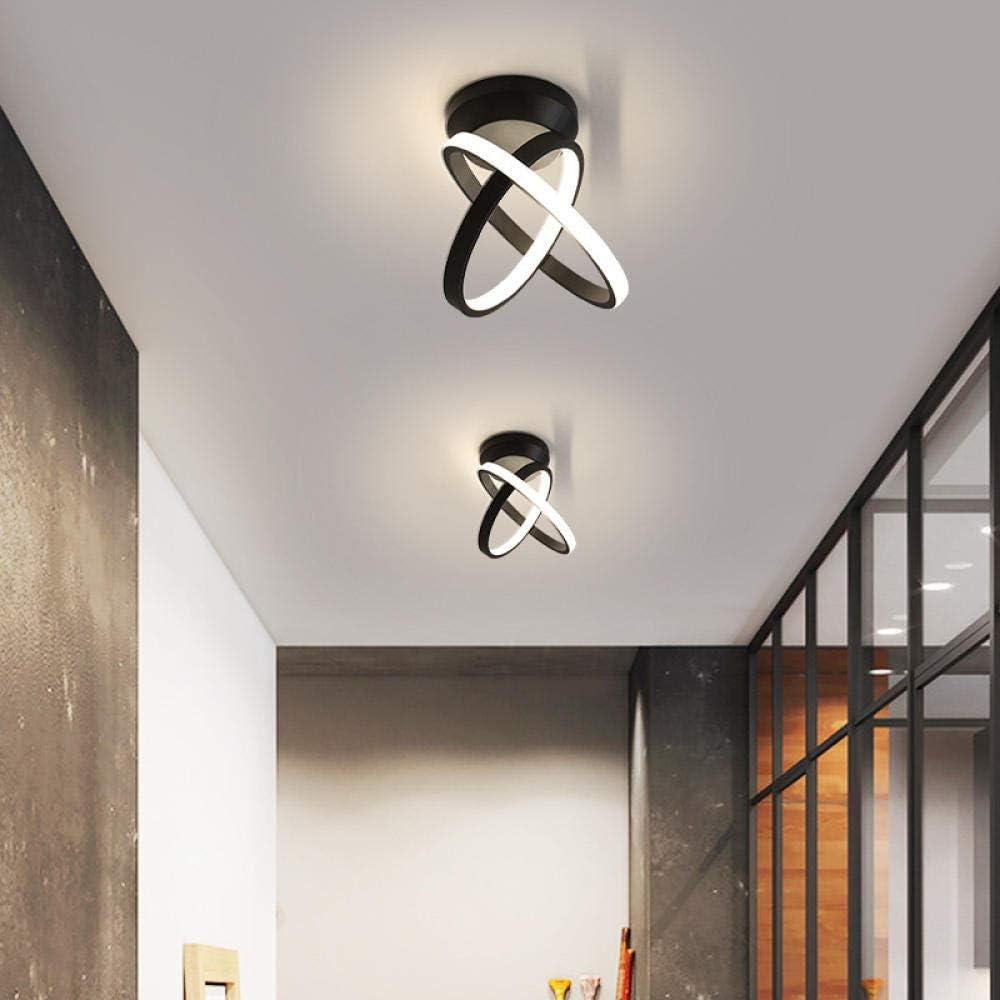 Luces de pasillo LED, lámparas de techo de hall de entrada de porche de aluminio, lámparas de balcón de guardarropa, 18X16X23CM, negro 29W, luz blanca