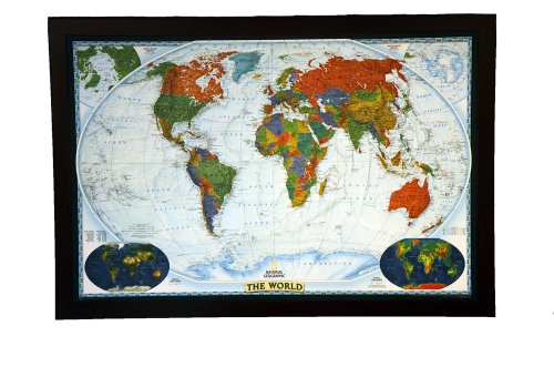 A BEST SELLING push pin map of the World Nat Geo's Decorator World FRAMED 49.5 X 34'' Pin board MAP with Mahogany Finish Frame is the best push pin travel map for home, office or class room by National Geographic