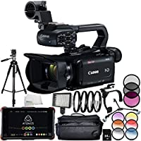 Canon XA15 Compact Full HD Camcorder + Atomos Ninja Flame 7 4K HDMI Recording Monitor 12PC Accessory Bundle – Includes 64GB SD Memory Card + MORE - International Version (No Warranty)