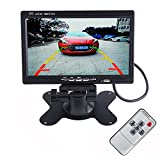 LUCOG 7 Inch TFT LCD Car Monitor Headrest Display Support 4 Split Video Input For Rear View Camera DVD GPS With Remote Control (Monitor + Control)