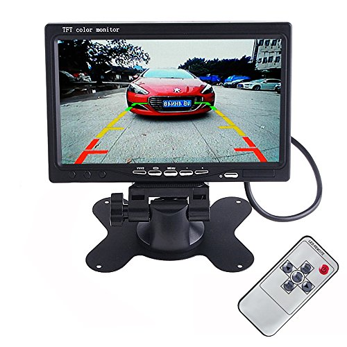 LUCOG 7 Inch TFT LCD Car Monitor Headrest Display Support 4 Split Video Input For Rear View Camera DVD GPS With Remote Control (Monitor + Control) (Cable Video Digtial)