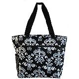 World Traveler 13.5 Inch Beach Bag, Black White Damask II, One Size For Sale