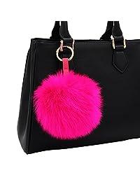 Faux Fox Fur Pom Pom Keychain Purse Bag Charm Fluffy Ball Key Chain for Women by Aiphamy