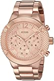 GUESS Women's U0849L3 Sporty Rose Gold-Tone Stainless Steel Watch with Multi-function Dial and Pilot Buckle