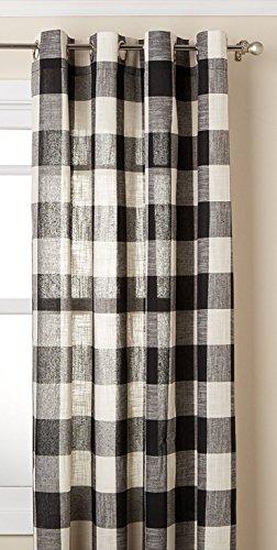 Lorraine Home Fashions 09570-63-00146 BLACK Courtyard Grommet Window Curtain Panel, Black, 53