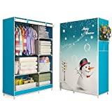 Moon Angle 3D painting Wardrobe Non-woven Fabric Steel frame reinforcement Standing Storage Organizer Detachable Clothing Closet furniture (Christmas Snowman)
