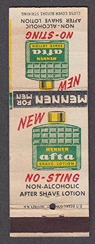 Mennen Afta Shave Lotion No-Sting Non-Alcoholic Aftershave matchcover (Best Non Alcoholic Aftershave)