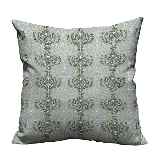 (YouXianHome Home DecorCushion Covers Art Damask Floral Ornament Background Wallpaper Pattern Print Blue and Taupe Comfortable and Breathable(Double-Sided Printing) 35x35 inch )
