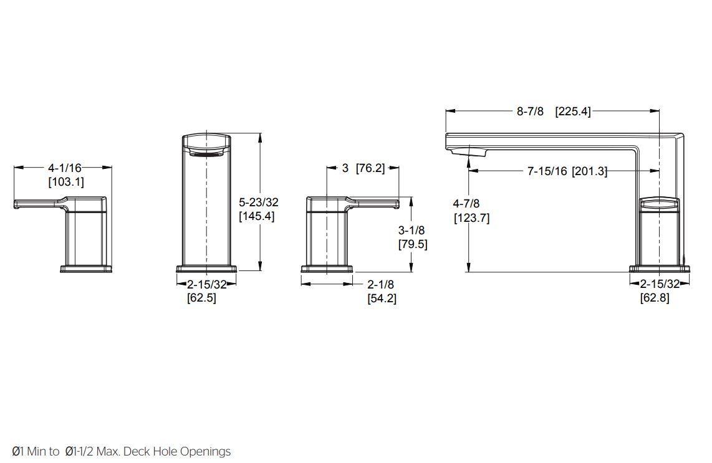 Pfister RT6-5DAK Deckard 3-Hole Roman Tub Faucet Brushed Nickel