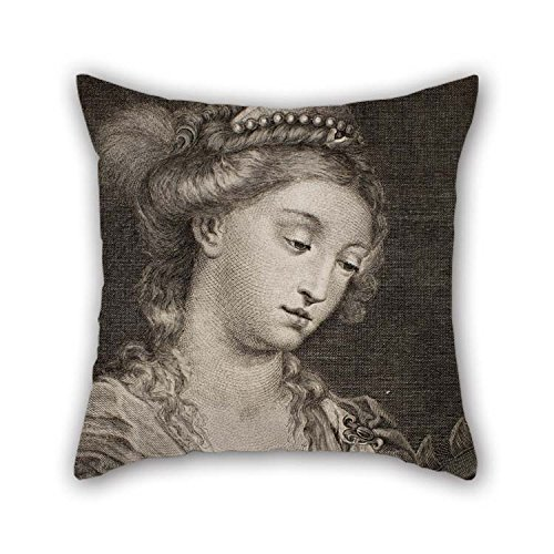 (Oil Painting Francesc Fontanals - Saint Catherine of Alexandria Pillow Cases 18 X 18 Inches / 45 by 45 cm Gift Or Decor for Bench Dining Room Teens Girls Saloon Him Kids - Two Sides)