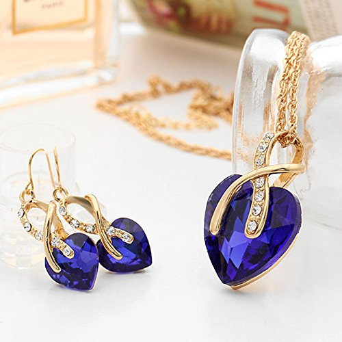 Gbell Clearance! Fashion Wedding Crystal Heart Jewelry Pendant Necklace Choker Earrings Sets Gifts For Women Lady Girls (Blue)