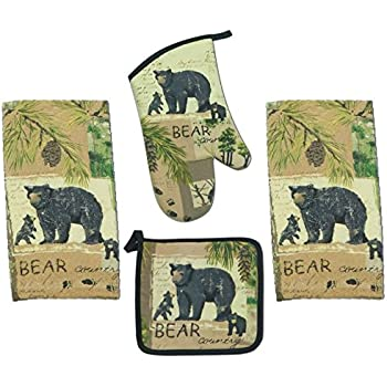 This Item 4 Piece Wilderness Trail Bear Country Kitchen Set 2 Terry Towels Oven Mitt Potholder
