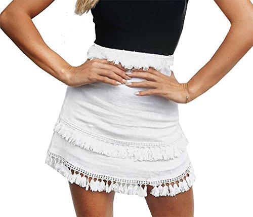 Yeesea Femme Casual Taille Haute Boho Crayon Courte Mini Jupe Blanc