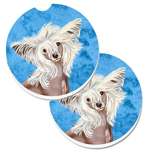 Caroline's Treasures Blue Chinese Crested Set of 2 Cup Holder Car Coasters LH9392BUCARC, 2.56, Multicolor