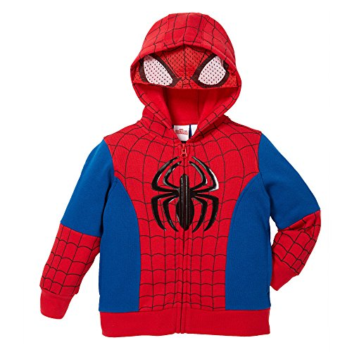 Superhero Little Boys' Zip-Up Fleece Hoodie With Mesh Mask, 5, Spiderman