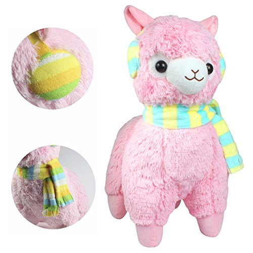 KSB 18'' Giant Pink Scarf And Earmuff Plush Alpaca,100% Plush Stuffed Animals Doll Toys,Best Birthday Gifts For The Children Kids