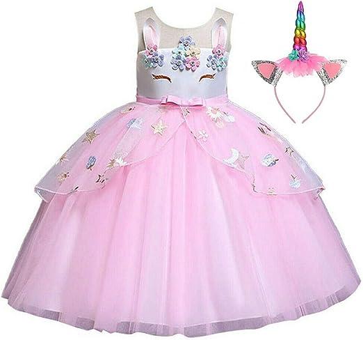 Boda Fiesta de Cosplay Disfraz Unicornio Ni/ña Partido,Vestido De Princesa 4-5 A/ños, 110 cm Vestidos Unicornio ni/ña