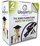WONDERKID TV and Furniture Anti-Tip Straps with Mounting Hardware, Black, 2 Straps