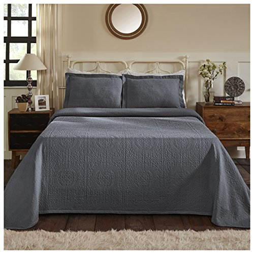 Superior 100% Cotton Medallion Bedspread with Shams, All-Season Premium Cotton Matelassé Jacquard Bedding, Quilted-look Floral Medallion Pattern - Full, Grey (Each Quilted Sham)