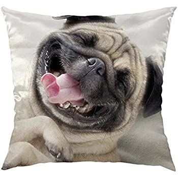 HGOD DESIGNS Pug Dog Decorative Throw Pillow Cover Case with Funny Laughing Pug Face Decorative Square Satin Cushion Cover for 18 X 18 Inch, Gray,White