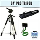 PROFESSIONAL 67 Inch Full Size Tripod with Carrying Case For The Canon Powershot SX10, SX1, SX110, E1, A2000, A1000, SX100, S5 IS, S3 IS, S2 IS Digital Cameras with Exclusive FREE Complimentary Super Deal Micro Fiber Lens Cleaning Cloth