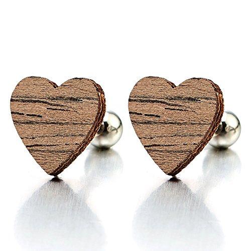 Heart Screw Earrings Womens Stainless
