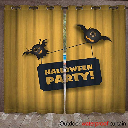 RenteriaDecor Outdoor Balcony Privacy Curtain Halloween Party Invitation Template Holiday Celebration Poster or Card Adorable W84 x L108 -
