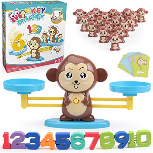 SHOHEN Monkey Balance Math Game Counting Toys Age 3-6, Math Educational Toys for Girls Boys Fun Number Learning Game for Children Birthday Xmas Halloween Presents Gifts for Boys Girls Ages