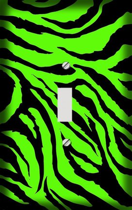 (Lime Green Jagged Zebra Skin Print Switchplate - Switch Plate Cover)