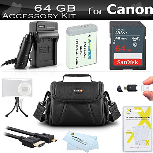 64GB Accessories Kit Canon PowerShot SX720 HS, Canon G7 X Mark II, G7 X, G9 X, G5 X Digital Camera Includes 64GB High Speed SD Memory Card + Replacement NB-13L Battery + AC/DC Charger + Case +More -  ButterflyPhoto, AMAZ24205