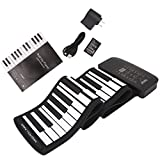 ULKEME Rechargeable Digital Keyboard Piano 61 Keys 128 Tones Electronic Roll Up Speaker