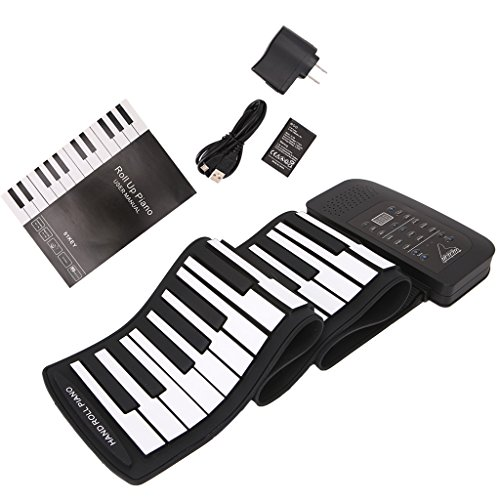 ULKEME Rechargeable Digital Keyboard Piano 61 Keys 128 Tones Electronic Roll Up Speaker by ULKEME